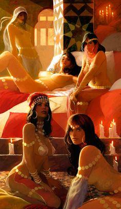belle jasmine ariel aurora harem girls deviantart