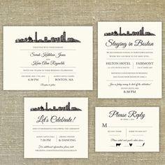 Boston Skyline Destination Wedding Invitation