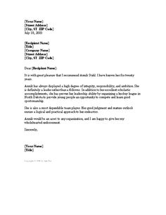 Character Reference Letter From Employer Pinterest • The World's Catalog Of Ideas