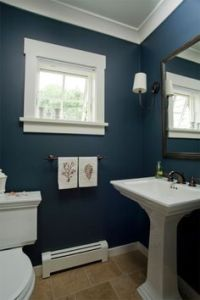 Navy Blue and White Bathroom - Saw Nail and Paint ...