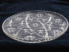 Duncan miller clear hobnail pressed glass punch bowl set
