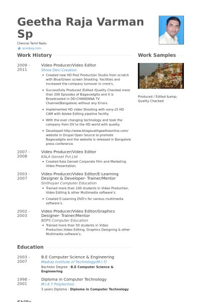 12 best WORK images on Pinterest Resume examples, Videos and Website - video editor resume sample