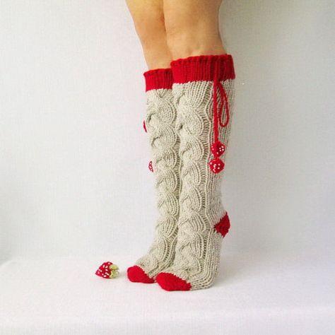 Oatmeal and strawberry color socks. Valentines Day women Gifts Knit socks. Handmade Knee high Socks Wool socks Warm winter socks.