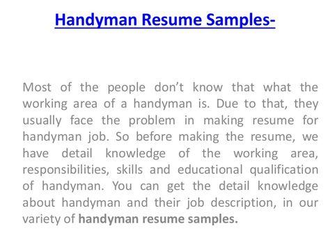 handyman sample resume 65 best sample resume download images on