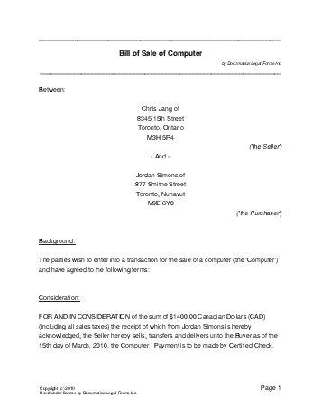 auto sale contract