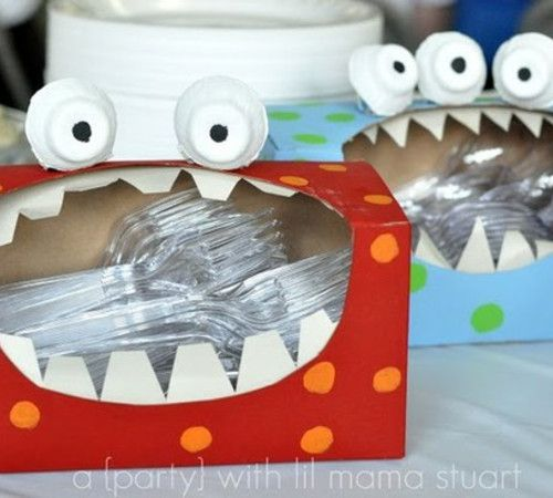 tissue box monsters!! Such a cute idea for a kids Halloween party or birthday mo