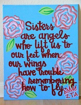 Sisters are Angels – Handpainted Sorority Quote | Sorority Sisters