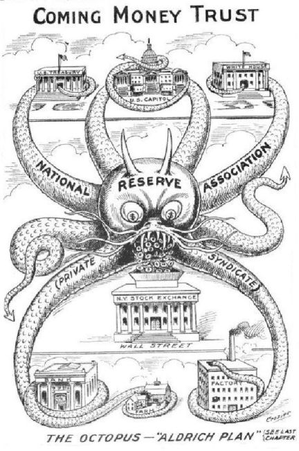 Image result for old newspaper graphics about coming Federal Reserve act