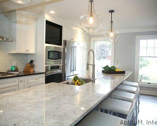 Kitchen Design, Transitional Kitchen Design With Long Kitchen - transitional kitchen design