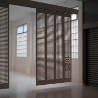 Moveable curtain panel walls - like the pierced screen and ...