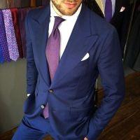 Navy Suit with Purple Tie