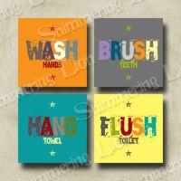 Kids Bathroom Bath Wash Brush Hang Flush Printable Wall ...