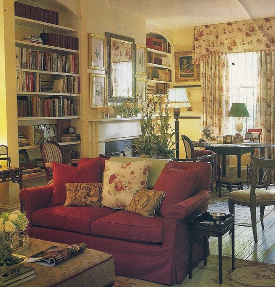 English cottages, Floral curtains and Country living rooms