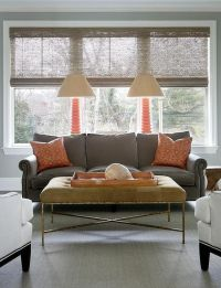 Gray living rooms, Orange lamps and Living rooms on Pinterest
