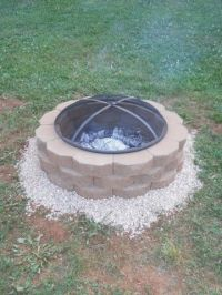 DIY firepit: 36 retaining wall stones from Lowes @ $1.47 ...