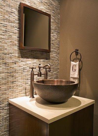 Powder room ideas i like the tile behind the vanity