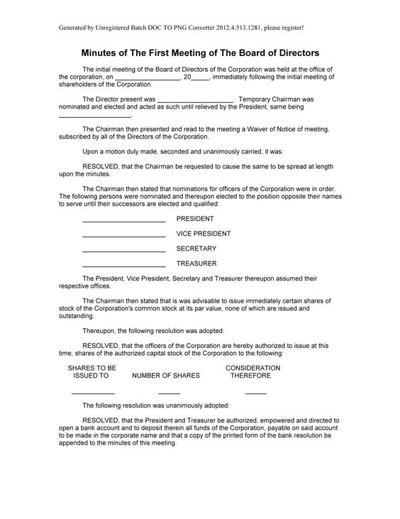Doc#429505 Meeting Minutes Form u2013 Meeting Minutes Form Template - corporate resolution form