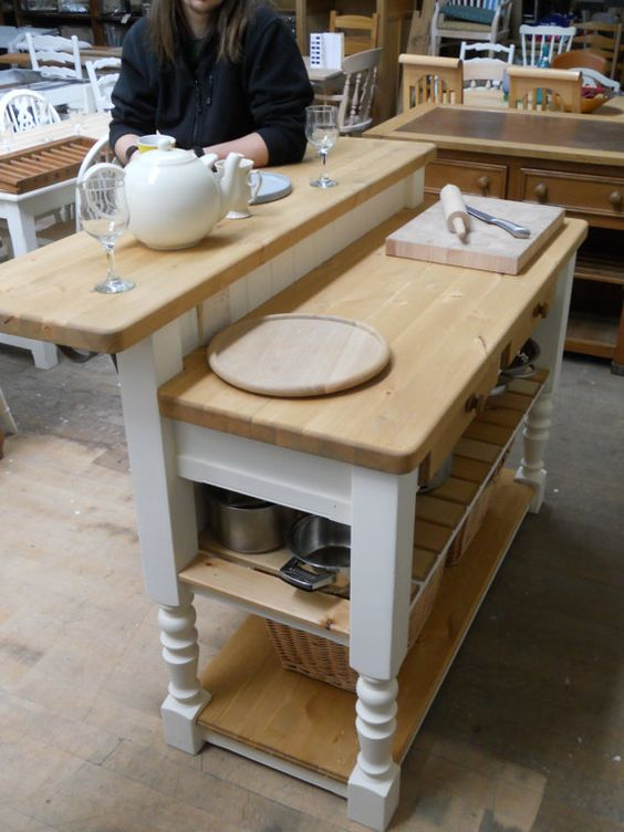 Free Standing Kitchen Island With Breakfast Bar Kitchen Island Unit Shabby Country Style By Glenndesigns1