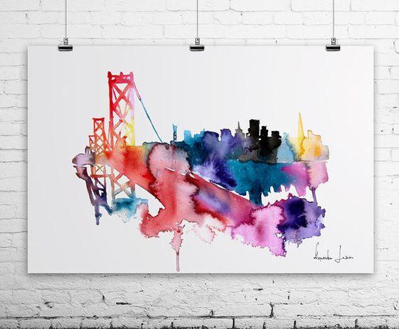 San Francisco Brige Golden Gate City Watercolor Painting