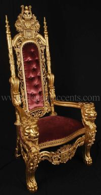 Carved Mahogany King Lion Gothic Throne Chair Gold Paint ...