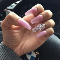 Baby Pink + Rhinestone Long Coffin Nails. #nail #nailart ...