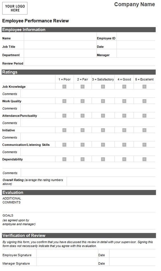 Job Interview Form Samplewords Forms Documents Employee Evaluation Template Employee Performance