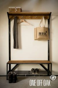 English Oak and Steel Coat Rack Bench | That time I moved ...