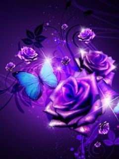 Purple Butterfly neon | Cool Purple Rose And Butterfly Cell Phone Wallpapers 240x320 Hd ...