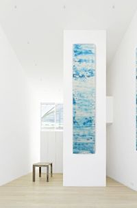 Original abstract painting teal blue white wall art long ...