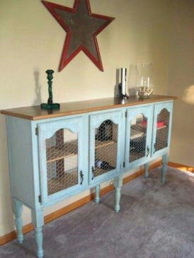 Repurposed kitchen cabinets: i like the basic idea- different color though, shorter legs, chicken wire is a good choice too: