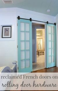 upcycling idea - reclaimed french doors on rolling door ...