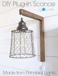 DIY Farmhouse Style Decor Ideas  DIY Plug In Sconce From ...