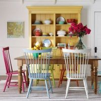 yellow hutch, chairs painted different colors | kitchen ...