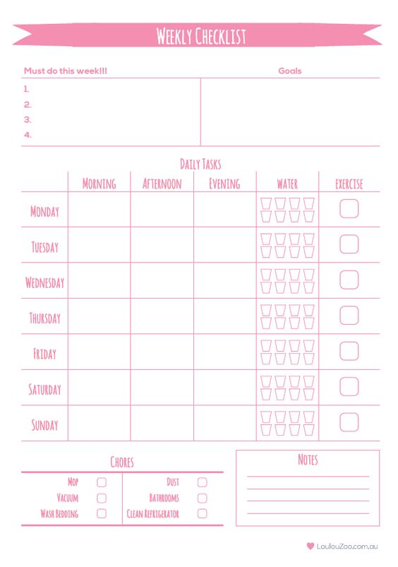 Daily Calendar Checklist Printable Annual Calendar New Years Resolution Checklist Weekly Planner Planners And Zoos On Pinterest