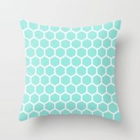 Honeycomb Tiffany Blue Throw Pillow | Blue throw pillows ...