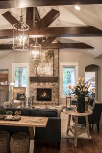 Beams, Transitional living rooms and Exposed beams on