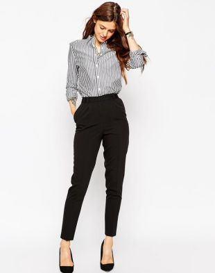 ASOS Pants in High Waist with Straight Leg: