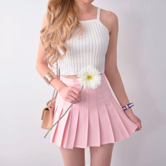 Pleated Tennis Skirt - Pastel Pink:
