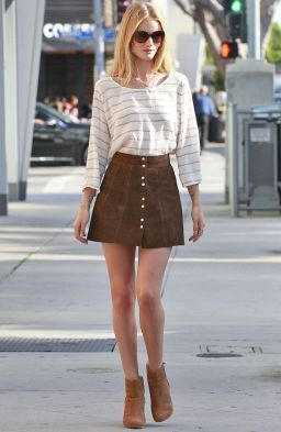 Image result for Rosie Huntingtonwhiteley brown skirt buttoned