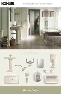 Softer complementary shades accent Almond fixtures for a ...