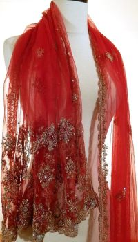 Formal Evening Wrap Red Shawl Beaded Shawl Indian by ...