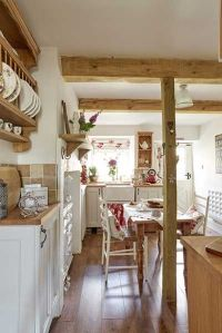 stone cottage country kitchen with wooden beams | Cozy ...