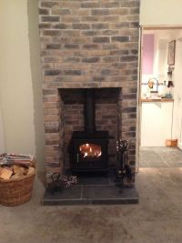 Thin brick slip fireplace made with eazyclad brick slips ...