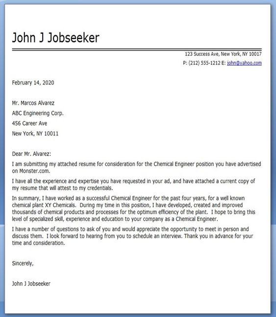 Worklife Jobsite Chemical Engineering Cover Letter College Life