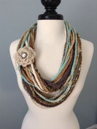 Crocheted Necklace Scarf   Wool, Different types of and ...