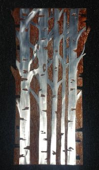 Aspen tree metal wall art for a mountain house or log