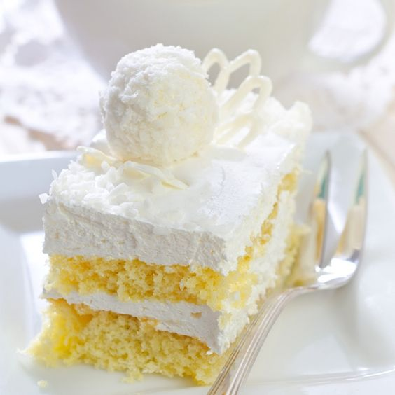This Simple Yellow Cake Is Made In A 9X13 Inch Pan, Sliced In Half