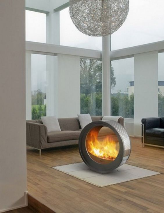 indoor fire pit coffee table. #fireplaces www