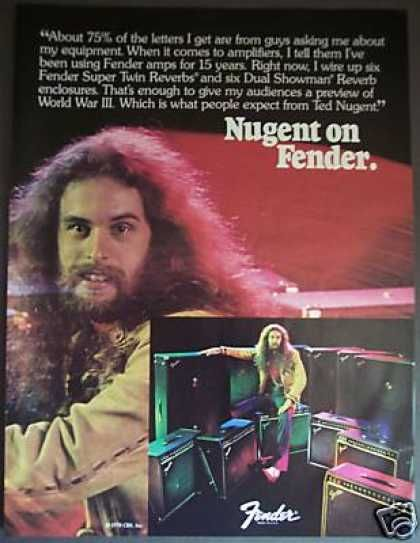 Bad & Idee Fuller Ted Nugent Fender Guitar Amps Photo 1978 Live To Shred