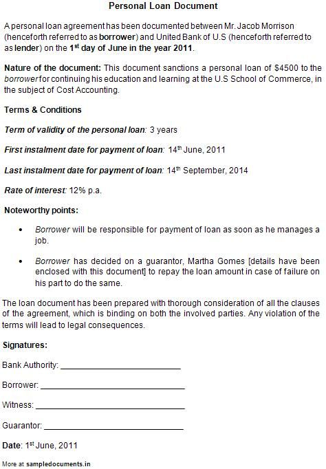 Legal Contract Template For Borrowing Money  Create Professional